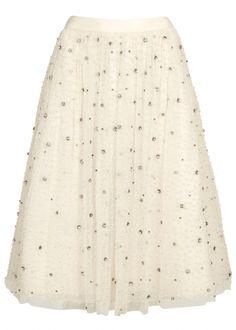 Alice + Olivia Catrina ivory embellished tulle midi skirt