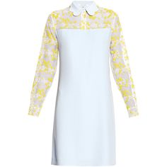 Carven Mimosa Embroidery Dress ($450) ❤ liked on Polyvore featuring dresses, blue, blue embroidered dress, long sleeve collared dress, embroidery dress, longsleeve dress and see through dress