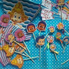 Banderín, etiquetas, toppers. Tema: Bubble Guppies.