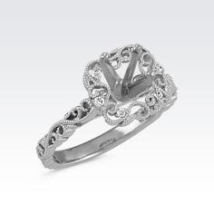 Cushion Halo Diamond Vintage Engagement Ring