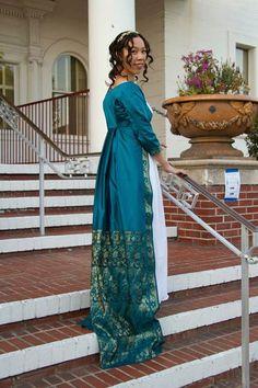 Photo by Doris Cheung, projectdoris.com Historical Costume, Historical Clothing, Historical Dress, Regency Dress, Regency Era, 18th Century Dress, Sari Dress, Blue Saree, Empire Style