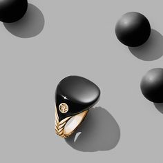 Bubblegum Pinky Ring with licorice scented resin in 18k gold.