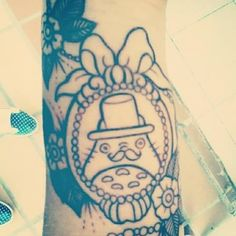 Totoro (with top hat and mustache!) tattoo