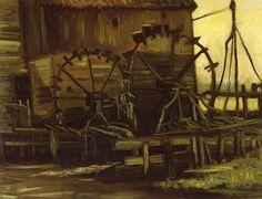 De waterraderen van de Genneper watermolen door Vincent van Gogh 1884