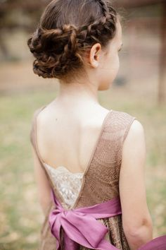 cute french braid low updo little girl hairstyle for wedding