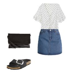 d5d3d80c1a1d Polka dots white blouse+denim mini skirt+black strap slide sandals   Birkenstocks+