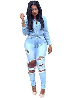 Destroyed Wash Denim Light Blue Skinny Ripped Jeans_Butt Lifting Skinny Jeans_Women Jeans_Sexy Lingeire | Cheap Plus Size Lingerie At Wholesale Price | Feelovely.com