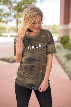 OKLA local unisex t-shirt camo. Lush Fashion Lounge boutique in Oklahoma City is known for carrying a large selection of trendy Okie apparel, most of which is e