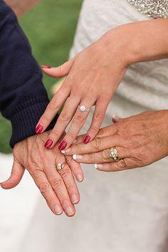 Wedding Photography - grandmother, mother, daughter wedding rings