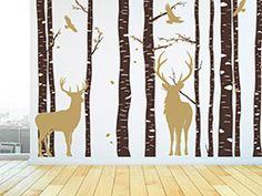 Wandtattoo Baumstämme mit Hirschen