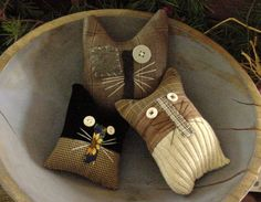 primitive bowl fillers | Details about Primitive Kitty Cat Autumn Bowl Fillers Drawer Dwellers ...