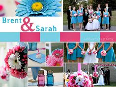 Pink and Turquoise wedding, teal, hot pink, Gerber Daisey, Gerber Daisies, Wedding party, turquoise knee length dress, bridesmaid, flower girl, groomsmen, groom, bride, photography, wedding favor, wedding bouquet, outdoor wedding, pink wedding, turquoise wedding, blue wedding, LABL photography, LABLphoto,