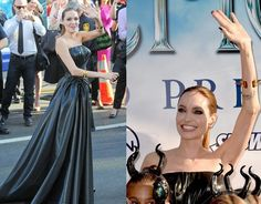 Angelina Jolie Versace Dress At Maleficent Premiere: Sleek ponytail, smoky eye make-up and black nail polish provided her an eye-capturing look.