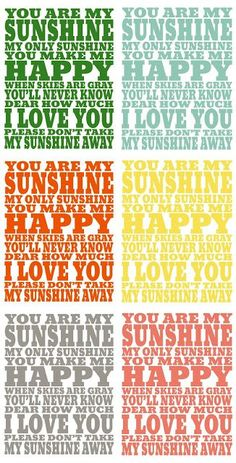 You Are My Sunshine Printable - perfect for a nursery! Valentines Decoration, Diy Valentine, Free Printable Art, Free Printables, Printable Crafts, Printable Designs, Sunshine Printable, Illustrations Vintage, For Elise