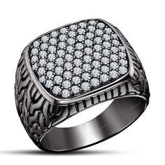 14K Black Gold Finish 1.54 CT Round Diamond Men's Engagement Band Ring Size 7-14 #aonedesigns #MensEngagementRing #EngagementWeddingAnniversaryValentines