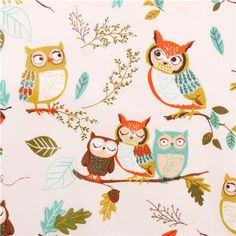 white owl forest premium laminate fabric by Robert Kaufman Forest Fellows  1