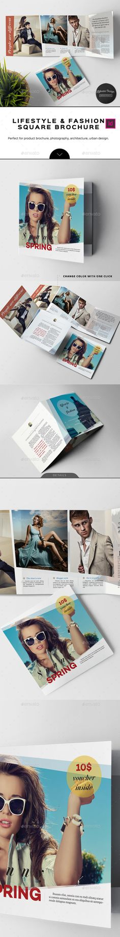 Lifestyle & Fashion Square Brochure Template InDesign INDD. Download here: http://graphicriver.net/item/lifestyle-fashion-square-brochure-/16448765?ref=ksioks