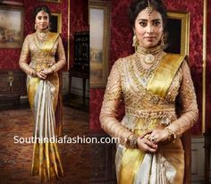 Shriya Saran Shows How To Style Silk Sarees With Trendy Blouses. Rich kanjeevaram silk sarees by VRK silks paired wit modern blouse designs Pattu Saree Blouse Designs, Fancy Blouse Designs, Bridal Blouse Designs, Blouse Neck Designs, Blouse Patterns, Gold Silk Saree, Wedding Silk Saree, Silk Sarees, Modern Blouse Designs