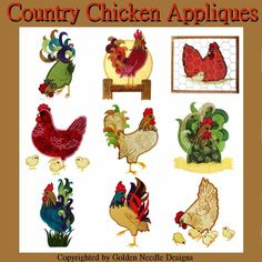 Country Chicken Appliques Machine Embroidery Designs