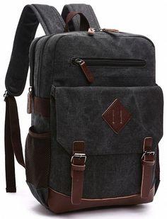 Amazon.com   Kenox Mens Large Vintage Canvas Backpack School Laptop Bag Hiking Travel Rucksack (Black)   Backpacks