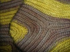 Nalbinding-Socken, gearbeitet im Mammenstich