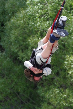 A Valentine's Day Bungee Jump off Kawarau Bridge near Queenstown, New Zealand.