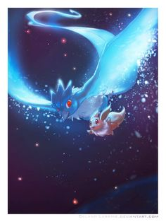 Articuno & Eevee. Don't forget to like this Pokemon Facebook page for more cool Pokemon content: http://www.facebook.com/shinydragonairx