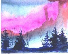 EVENING AURORA 4X5 landscape painting Jim by jimsmeltzgallery, $20.00