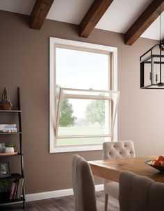Dining Room: See how easy window cleaning can be, inside and out with these Hermosa™ Series vinyl windows. Single-hung shown here.