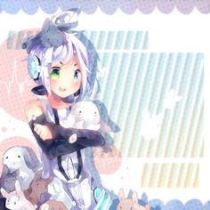 Awww yes Headcanon that piko adores fluffy animals Vocaloid Piko, Hatsune Miku, Vocaloid Characters, Cute Characters, Year Of The Rabbit, Mikuo, Iroha, Roller, Kawaii