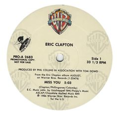 "For Sale -Eric Clapton Miss You USA Promo  12"" vinyl single (12 inch record / Maxi-single)- See this and 250,000 other rare and vintage records & CDs at http://eil.com/"