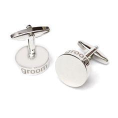 Groom Laser Etched Edge Round Cufflinks  Product Code : wcuk608 weddingcufflinksuk.com