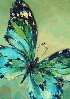 Butterfly Painting, Oil, by Pavel Guzenko Oil Pastel Paintings, Oil Pastel Art, Art Paintings, Oil Pastels, Oil Pastel Drawings, Green Paintings, Nature Paintings, Arte Fashion, Butterfly Painting