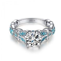 Jeulia Butterfly Round Cut Created White Sapphire with Aquamarine Sidestone Engagement Ring - Jeulia Jewelry