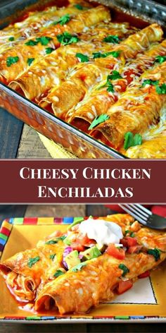 My favorite enchilada recipe! Loaded with chicken and cheese, these EASY Cheesy Chicken Enchiladas bake up with a little crunch.