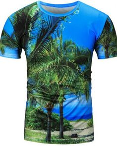 8f8422a8a2d 2017 summer fashion blue sky palm tree t shirt for men beach vacation  wear