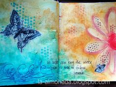 Art journal techniques to try.... paint over modeling paste, stamp to book text and cover with clear tape