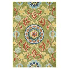 Add an elegant touch to your dining room or den with this hand-tufted wool rug, showcasing a floral-inspired scrolling motif in a chic lime-hued palette.   ...