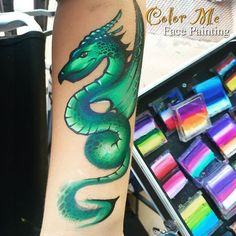 One-stroke Dragon Face Painting - Color Me Face Painting - Vanessa Mendoza