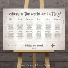World map wedding seating chart, travel theme city destination table assignment wedding decoration table names large plan diy DIGITAL