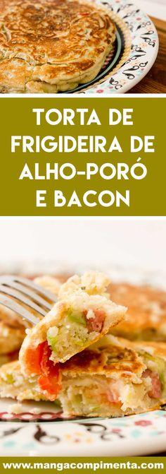 Receita de Torta de Frigideira de Alho-poró e Bacon - prepare um prato rápido e gostoso para o almoço da semana! #receitas