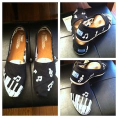 Custom Handpainted TOMS music musical PIANO notes TOMS