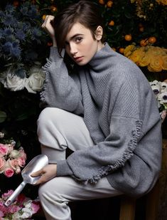 Lily Collins | 2015 | Barrie Knitwear Winter Photoshoot