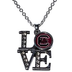 "J and D Jewelry and More - South Carolina Gamecocks Silver Tone 16"" Necklace with Love Pendant, $11.99"