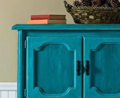 LOVE this dresser - painted with FolkArt Home Decor Chalk! Super cute. #plaidcrafts #diy #folkartpaint