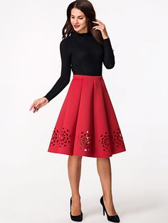Hollow Out Plain A-line Mid-rise Midi Skirt