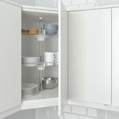 IKEA - UTRUSTA, Wall corner cabinet carousel, You make maximum use of the corner space and what's inside the cabinet easy to see and reach with the 2 swivel shelves. You can customize your storage as needed, since the tempered glass shelf is adjustable. Diy Kitchen Storage, Kitchen Cabinet Organization, Cupboard Storage, Kitchen Organizers, Corner Storage, Kitchen Storage Solutions, Corner Shelves, Storage Organization, Kitchen Wall Cabinets