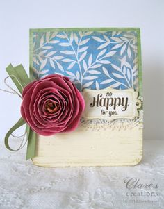 Rolled paper flower card