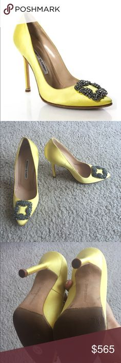 PRICE ⬇️Manolo Blahnik Yellow Hangisi Satin Pump Absolutely gorgeous Manolo Blahnik Hangisi Satin Pump yellow. 105mm. great condition. Slighty loved. All signs of wear are shown in pictures. Classic Sarah Jessica Parker shoes from sex and the city :) Size 36 Manolo Blahnik Shoes Heels