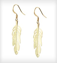 Gold Feather Earrings #boho #earrings #feather